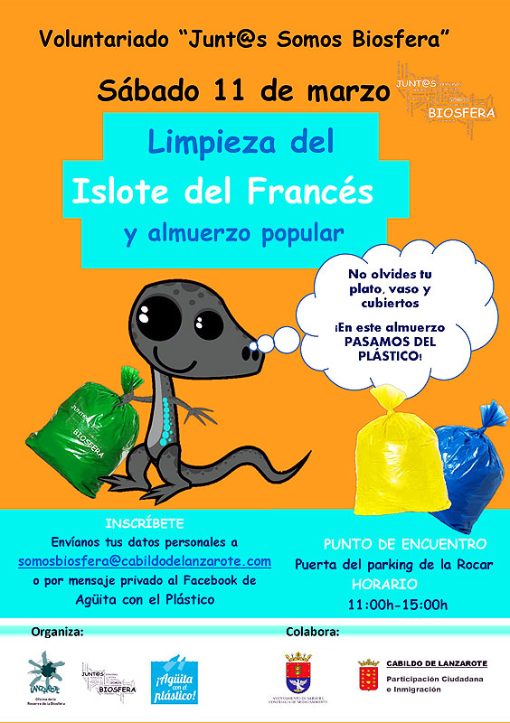 'Junt@s somos Biosfera', the volunteer program of the Reserva de la Biosfera organizes a campaign of cleansing of the Islote del Francés