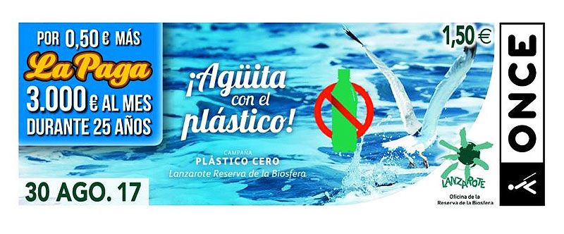 The Lanzarote Biosphere Reserve and its campaign to raise awareness about plastic will be nationally visible in 5.5 million ONCE coupons